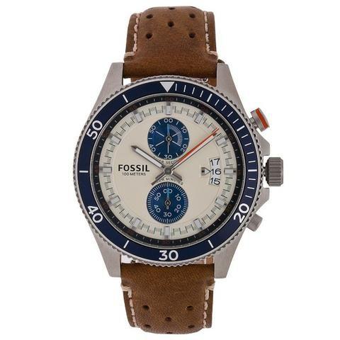 Relógio Fossil Ch2951 Wakefield Bege/azul Chrono 44mm Novo!