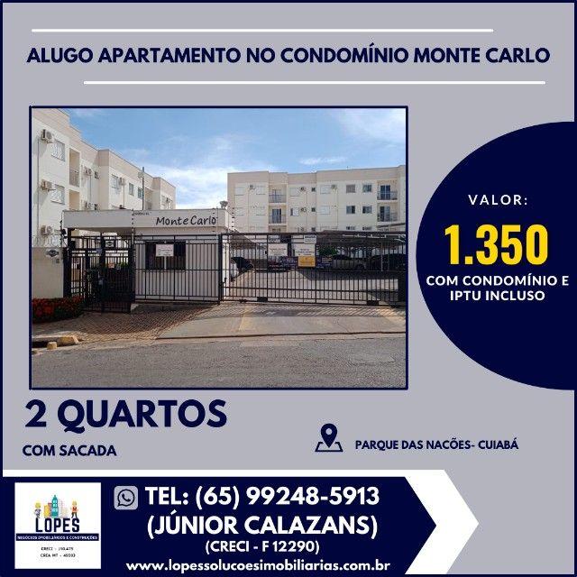 Alugo apartamento 2 quartos semi-mobiliado no condomínio Monte Carlo.