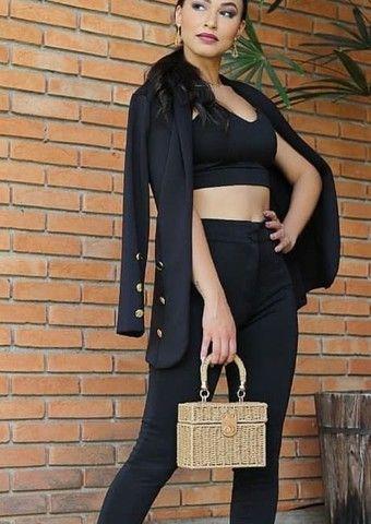 Maxi blazer alongado Estruturado alfaiataria luxo preto e rosa tam único  - Foto 2