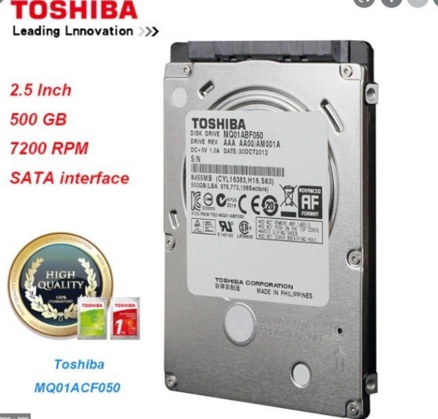 HD Toshiba 500Gb compatível com Notebook