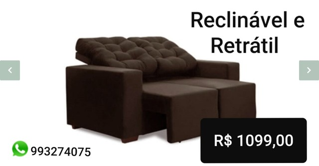 Estofado 2 lugares retrátil e reclinável