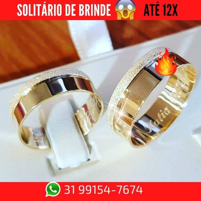Alianças de Moeda +Solitário de Brinde   - Foto 3