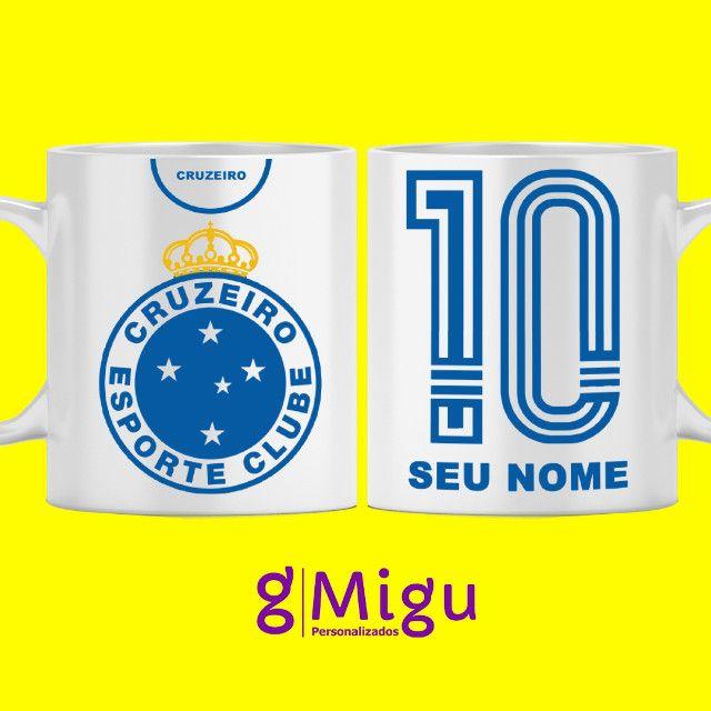 Caneca preta do Cruzeiro Caneca 100% preta do Cruzeiro personalizada / Xícara copo time - Foto 2