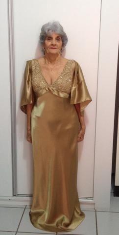 Em Vestido ForroTamanho CetimBordadoCom 46 Dourado 7v6IfymgbY