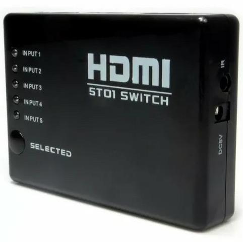 (NOVO) Hub Switch Hdmi 5 Portas Playstation Xbox Dvd Tv Lcd Led