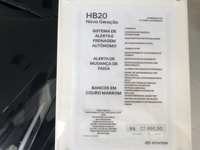 HYUNDAI  HB20 1.0 TGDI FLEX DIAMOND 2020 - Foto 7