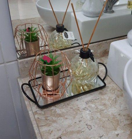 Bandeja Espelhada Para Banheiro Retangular Lavabo Sala Preta - Foto 5