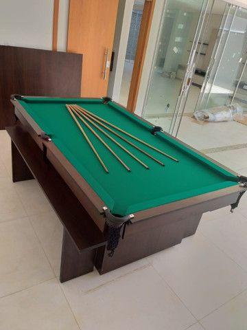 Mesa de Bilhar Encanto Imbuia Tecido Verde Modelo POQ0221 - Foto 6