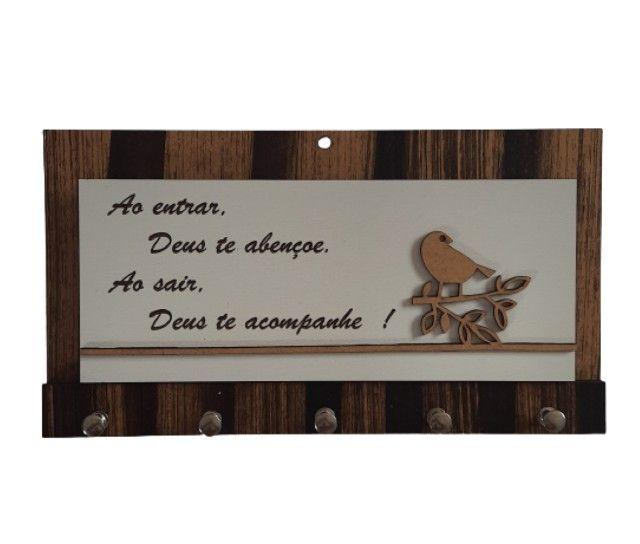 Porta Chaves Decoração Parede Porta Cartas Madeira - Foto 3