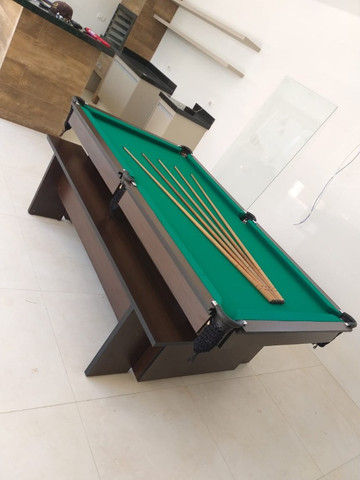 Mesa de Bilhar Encanto Imbuia Tecido Verde Modelo POQ0221 - Foto 5