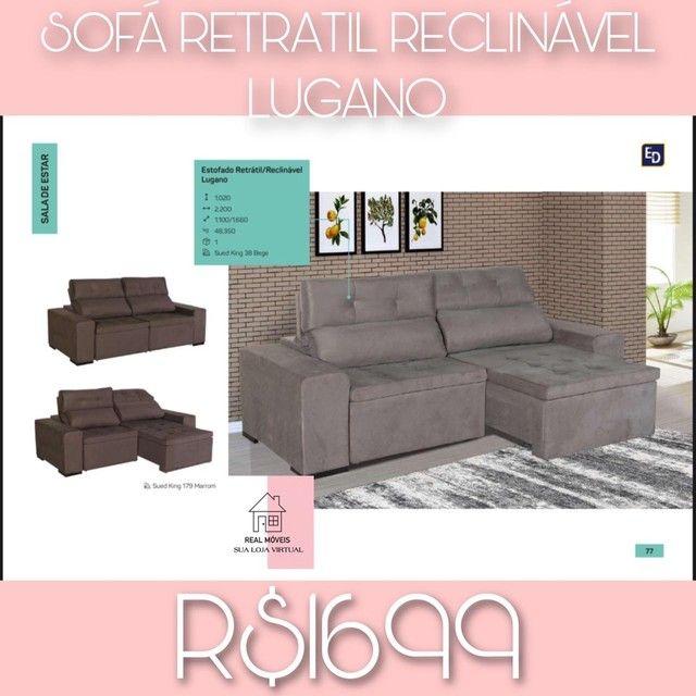 Sofá retrátil reclinável Lugano real móveis sua loja virtual