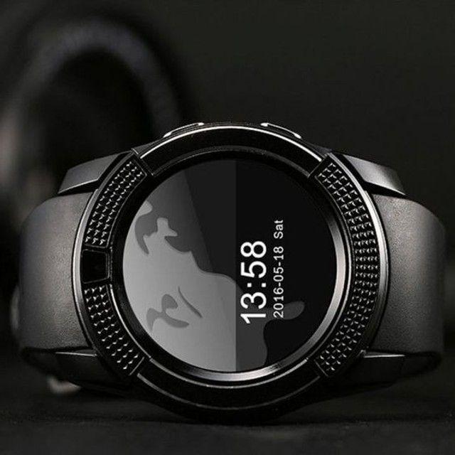 Relógio com Funções Celular  Design Moderno Smart V8 Preto - Foto 4