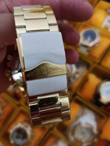 Relógio masculino invicta dourado todo funcional - Foto 6