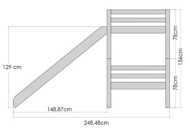 Beliche Infantil com Telhado/Escada/ Escorregador Casa Tema - Foto 3