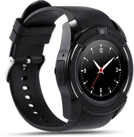 Relógio com Funções Celular  Design Moderno Smart V8 Preto - Foto 3
