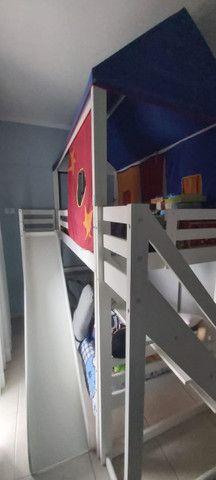 Beliche Infantil com Telhado/Escada/ Escorregador Casa Tema - Foto 2