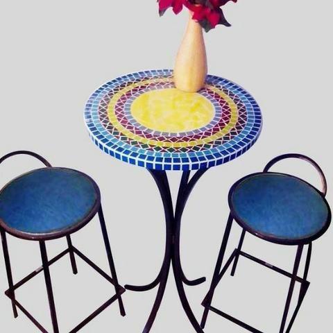 Conjunto mesa bistro mosaico sob medida - Foto 2