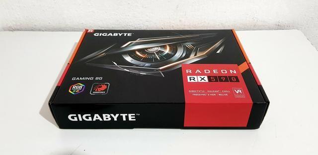 Placa de Vídeo Gigabyte AMD Radeon RX 590 Gaming 8G, GDDR5 versão 2.0 ( nova )