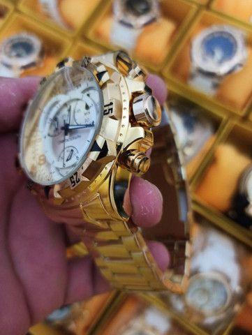 Relógio masculino invicta dourado todo funcional - Foto 3