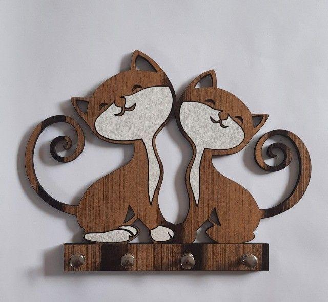 Porta Chaves Em MDF 2 Gatos Juntos - Foto 3