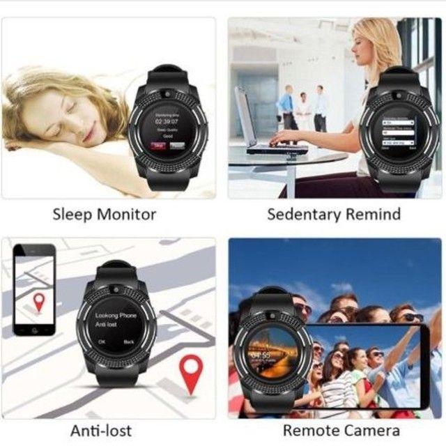 Relógio com Funções Celular  Design Moderno Smart V8 Preto - Foto 5