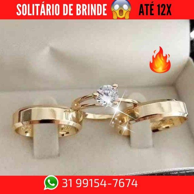 Alianças de Moeda +Solitário de Brinde   - Foto 2