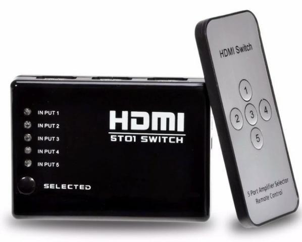 (NOVO) Hub Switch Hdmi 5 Portas Playstation Xbox Dvd Tv Lcd Led - Foto 3