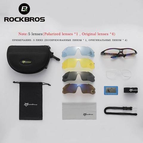 Kit Óculos 5 Lentes UV, 1 lente Polarizada Rockbros - Foto 5