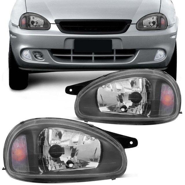 Farol Corsa Hatch/Sedan/Wagon/Pick-up 1994/2010 Máscara Negra