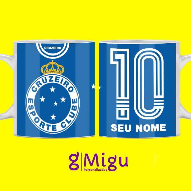 Caneca preta do Cruzeiro Caneca 100% preta do Cruzeiro personalizada / Xícara copo time - Foto 3