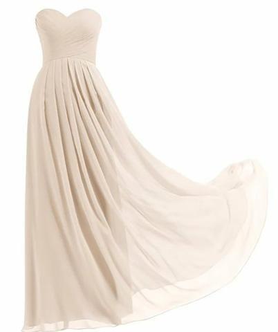 Novo: vestido longo tomara que caia em chiffon plus size cor champagne 9xl - Foto 2