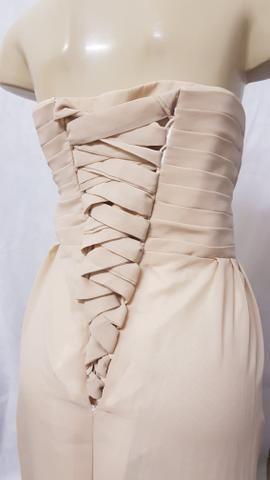 Novo: vestido longo tomara que caia em chiffon plus size cor champagne 9xl - Foto 4