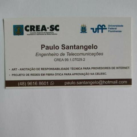 Engenheiro de telecomunicações - ART - Responsabilidade técnica Provedores  de Internet SC a5f54033ad