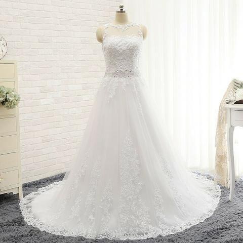 Vestido De Noiva De Tule Bordado Com Miçangas E Renda 206697313f90d