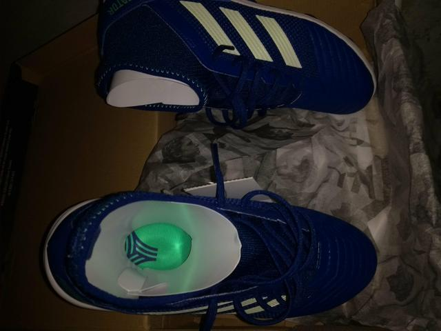 dc7e29cf23 Chuteira Society Adidas Predator 18 3 TF - Azul e Verde - Esportes e ...