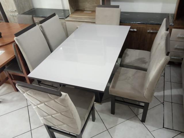 Mesa de vidro 6 cadeiras - Foto 4