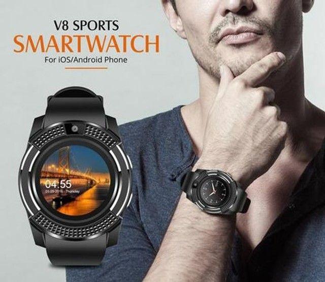 Relógio com Funções Celular  Design Moderno Smart V8 Preto - Foto 2