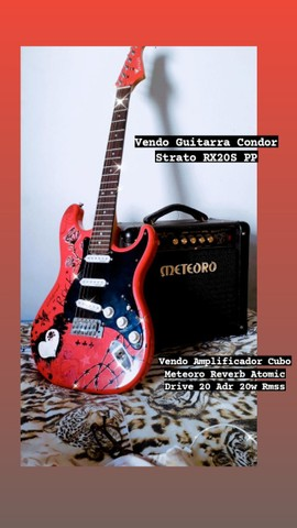 Guitarra Condor Strato rosa e Amplificador Cubo meteoro  - Foto 3