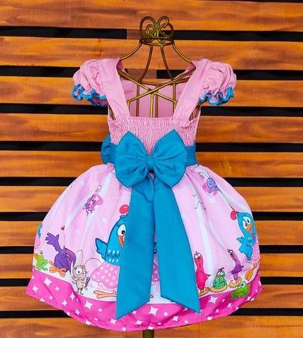 Vestido Galinha Pintadinha Rosa Vários tamanhos - Foto 2