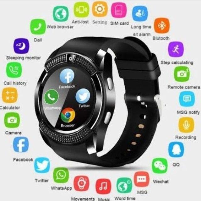 Relógio com Funções Celular  Design Moderno Smart V8 Preto