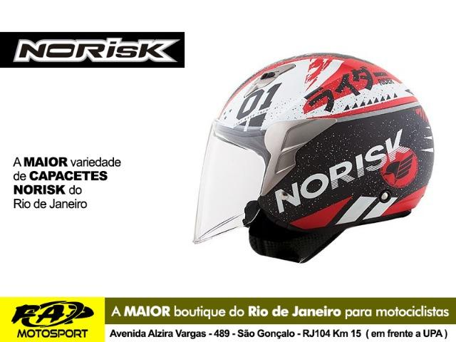 327fc93a51a19 Capacete Aberto Norisk Moto Jet Tokyo Preto Branco Vermelho - Peças ...