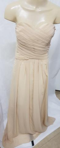 Novo: vestido longo tomara que caia em chiffon plus size cor champagne 9xl