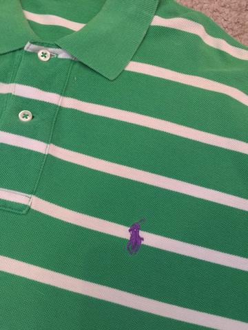 Camisa Polo Ralph Lauren Listrada Verde Branco Original Importada Tamanho G  Impecável! e223e654a19