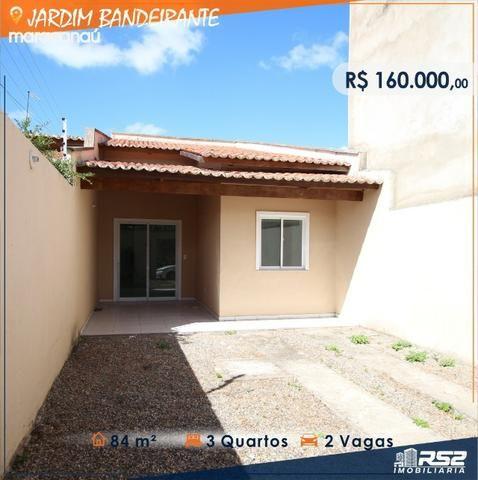 Casa Plana de 3 Quartos - Jardim Bandeirante - Documentos Inclusos