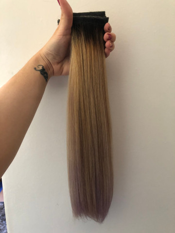 Mega Hair Fita - Cabelo brasileiro com merchas loiras - Foto 2