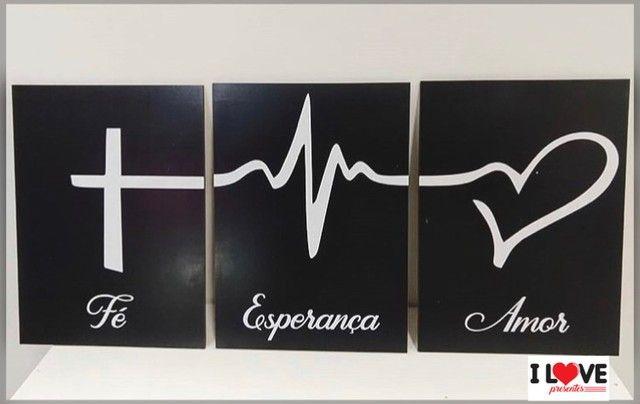 Placas mdf kit  fé esperança e amor