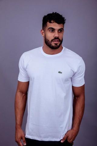 Camiseta Lacoste Branca Básica / Lisa Masculina Importada