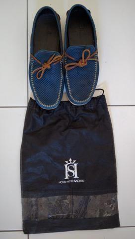 Sapato Homem do Sapato cor azul-Faço a entrega - Foto 4