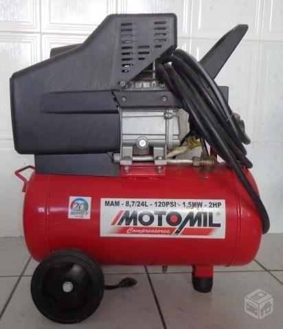Compressor motomil 88pes 24 litros+pistolas+mangueira