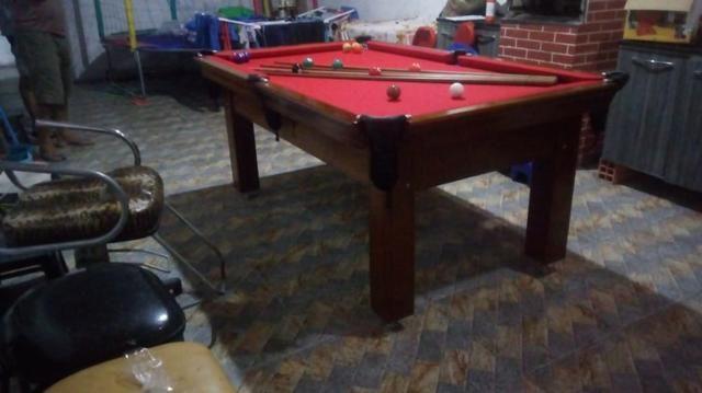 Mesa Tentação e Jantar | Mesa Imbuia | Tecido Bordô | Modelo: FIUE3450 - Foto 3